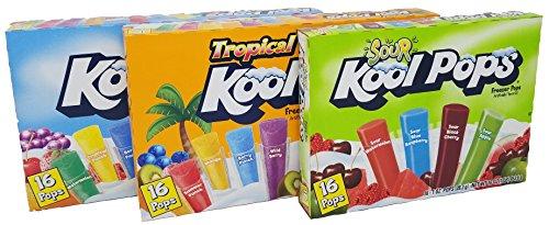 Kool Pops Freezer Pops Regular bundled with Tropical and Sour Freezer Pops