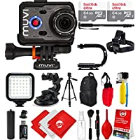 Veho Muvi K-Series K-2 NPNG 1080p 16MP HD WiFi Waterproof Action Camera with 2x 64GB + Monopod + Stabilizing Hand Grip + LCD + Travel Bag + Floating Grip + Head Strap + Tripod Mount VCC-006-K2NPNG