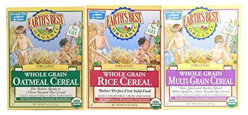 Earth's Best Organic Whole Grain Rice, Whole Grain Oatmeal & Multi-Grain Cereal (One 8 Oz Box of Each) by Earth's Best