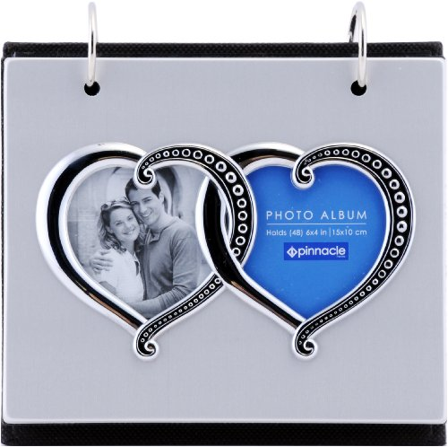 Pinnacle Frames and Accents Silver Metal Double Heart Framed Front Photo Album