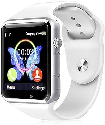 Padgene Smartwatch Montre Connectée Bluetooth avec Slot SIM Appel Caméra Bracelet Connecté Sport Podomètre Cardiaque Trace Anti-Perte pour Android 4.2 ...