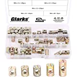 Glarks 75Pcs Metric M6 Barrel Nuts Cross Dowels Slotted Nuts Furniture Nuts for Beds Crib and Chairs - 5 Size of 11mm / 12mm / 13mm / 15mm / 20mm