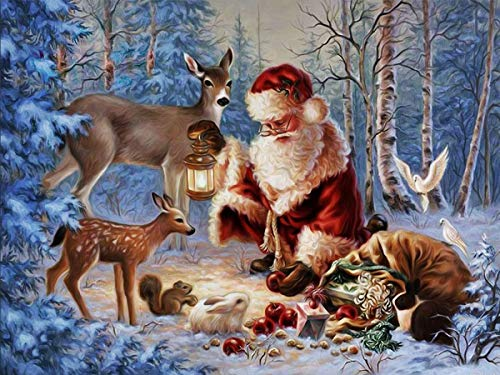 Claus Wall Santa (Twuky DIY 5D Diamond Painting by Number Kits, Crystal Rhinestone Diamond Embroidery Paintings Pictures Arts Craft for Home Wall Decor, Full Drill,Santa Claus(14X18inch/35X45cm))