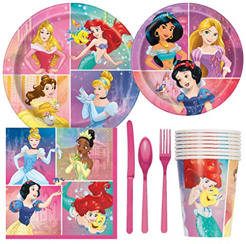 Disney Princess Birthday Party Supplies Pack Including Cake & Lunch Plates, Cutlery, Cups, Napkins (8 Guests) -