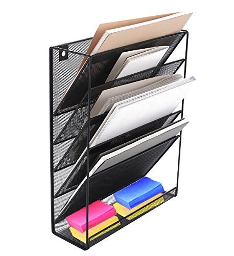 Wall Mounted File Organizer Holder Metal Mesh Magazine Rack for Office and Study Room - Black