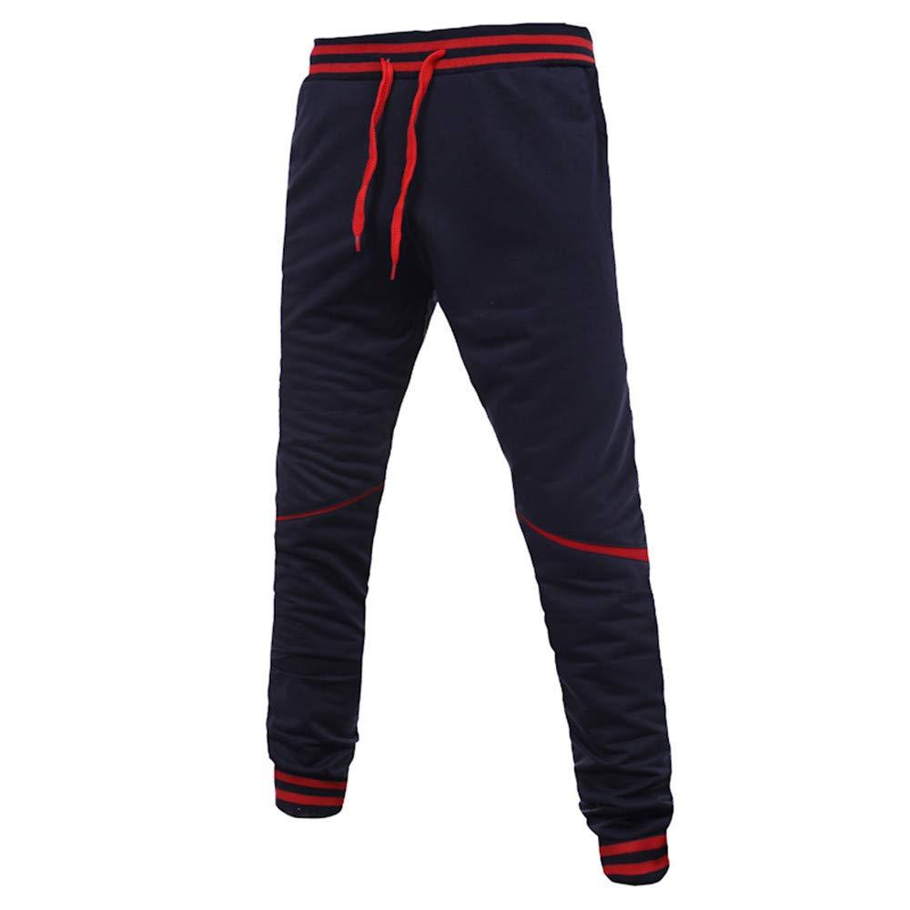 PASATO Clearace Sale! Mens Casual Autumn Winter Cotton Zipper Sports Trousers Joggers Sweatpants Pants(Dark Blue, L)