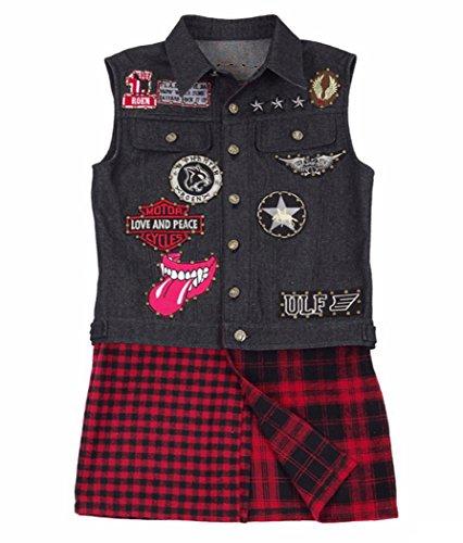 - Qi Pao Mens Prompto Costume Black Punk Patched Denim Vest Pants Full Set Halloween Cosplay Outfit (Men-S, Vest)