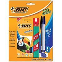 Kit Escolar, BIC, Lápis de Cor Sextavado + 4 Lápis Preto Evolution + 2 Canetas Cristal Dura + 1 Borracha + 1 Apontador