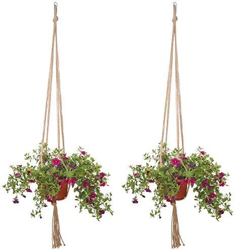 2x chytaii Kette Netz aus Sackleinen Hängeleuchte Pflanze Korb Blumentopf Kleiderbügel pflanzlich Plant Hanger Holder
