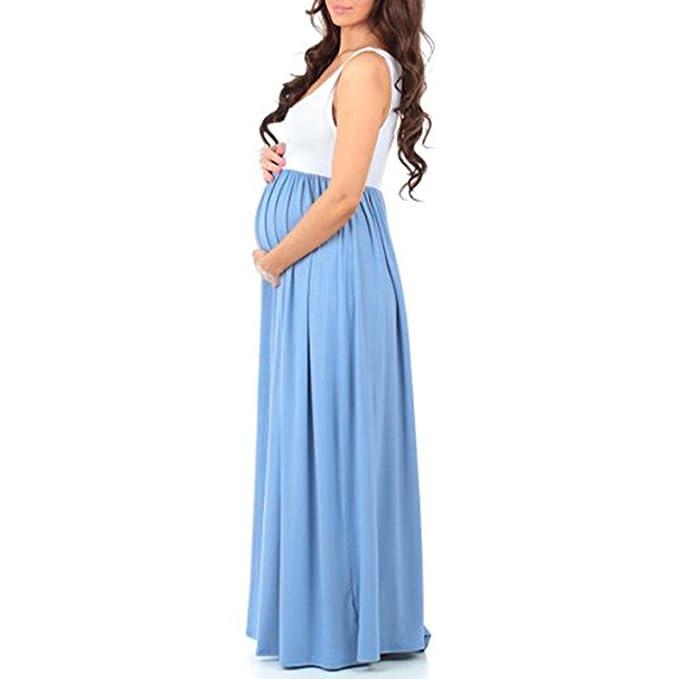 QinMM Vestido maxi mujer embarazada premamá, camisón maternidad pijama ropa de dormir sin mangas verano