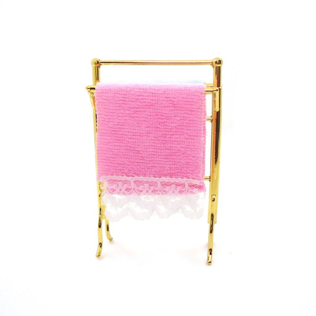 Magideal 1 12 Puppenhaus Miniatur Badezimmer Handtucher Rack Set
