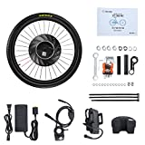 YUNZHILUN 26 Inch Electric Front Bicycle Wheel, iMortor Bike Cycling Motor Kit USB Port with Bluetooth 4.0 for Android IOS Up to 31MI(50KM)/H (Lithium-ion Battery Included)