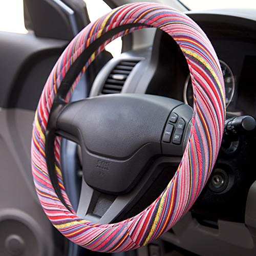 Maya Stripe Pink Girls - BDK Pink Woven Saddle Blanket Steering Wheel Cover for Cars Automotive - Striped Rough n Sweet Driver Grip - Candy Stripes
