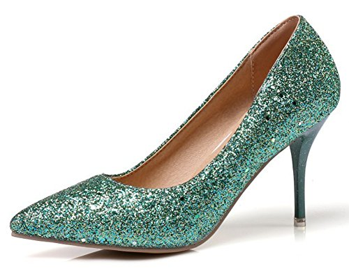 Mofri Women's Sexy Sequins Pointed Toe Low Cut