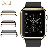 Josi Minea Apple Watch [42mm] Protective Snap-On Case with Built-in Clear Glass Screen Protector - Anti-Scratch & Shockproof Shield Guard Full Cover for Apple Watch Series 2 - 42mm [ Gold ]
