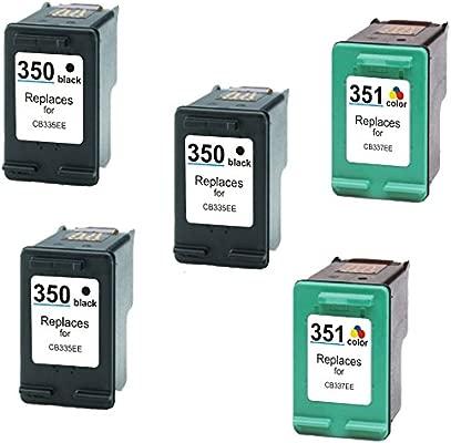 Prestige Cartridge 5 Cartuchos de Tinta para HP Photosmart C4280 C4340 C4380 C4480 C4485 C4524 C4580 C5280 D5360 Deskjet D4260 D4360 Officejet J6424 ...
