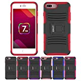 iPhone 8 Plus Case, iPhone 7 Plus Case, HLCT Rugged Shock Proof Dual-Layer Case with Built-In Stand Kickstand (Red)