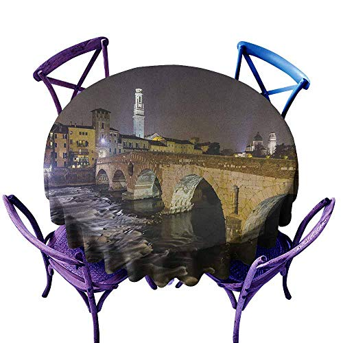(Water Resistant Table Cloth,Landscape Ponte Pietra on River Adige Ancient Roman Bridge in The Old Town of Verona Italy,for Banquet Decoration Dining Table Cover,63 INCH Black Beige)