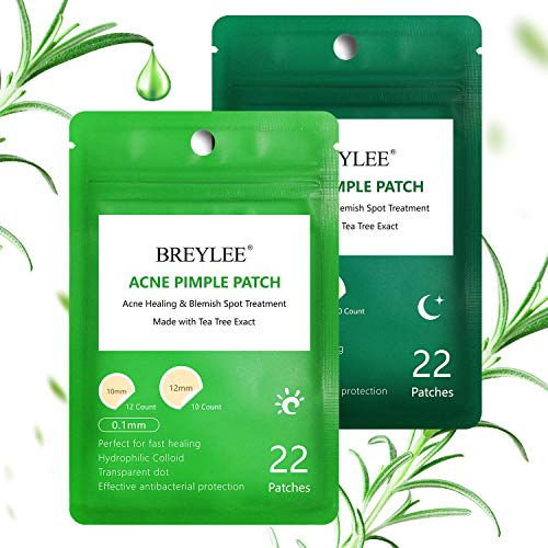 Acne Treatment, BREYLEE Tea Tree Acne Patch Hydrocolloid Acne Dots Invisible Spot Cover for Acne Absorbing, Pimple Healing, and Blemish Spot Treatment (2 Pack, Day and Night, 44 Count)