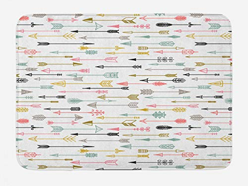 Lunarable Arrows Bath Mat, Colorful Arrows Pattern Aztec Najavo Inspired Style Artwork Image, Plush Bathroom Decor Mat with Non Slip Backing, 29.5
