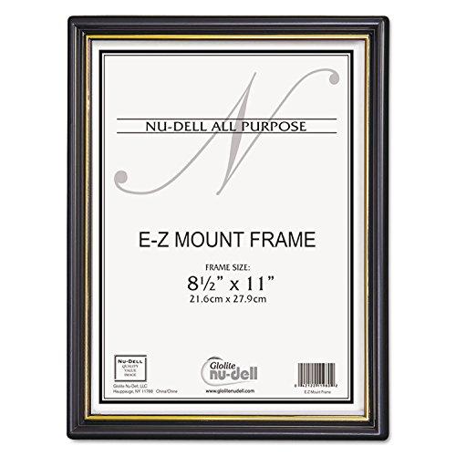 Nudell 11818 EZ Mount Document Frame w/Trim Accent, Plastic, 8-1/2 x 11, Black/Gold, 18/CT