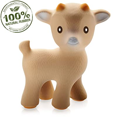 CaaOcho 100% Pure Natural Rubber - Sola The Goat Teething Toy (Tan) BPA, PVC, phthalates Free : Baby