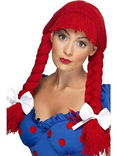 Smiffys Women's Red Rag Doll Braided Pigtail Wig with Bangs and Bows, One Size, 5020570422335