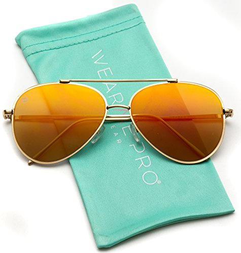 WearMe Pro - Flat Lens Mirrored Revo Metal Frame Aviator Sunglasses (Flashing Red, 60) ()