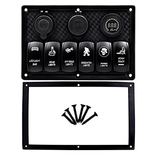 FXC-Waterproof-4-6-8-Gang-Marine-Boat-Rocker-Switch-Panel-With-Fuse-42A-Dual-USB-Slot-Socket-Digital-Voltage-Display-Cigarette-Lighter-LED-Light-for-Car-Rv-Vehicles-Truck