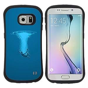 "Pulsar iFace Series Tpu silicona Carcasa Funda Case para Samsung Galaxy S6 EDGE / SM-G925(NOT FOR S6!!!) , Swim Océano Sea Man Deep Blue Arte Simbólico"""