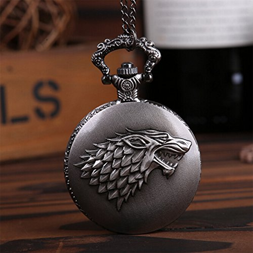 [Steampunk Game of Thrones Inspired Stark Wolf Pocket Watch Pendant Necklace] (Pop Art Inspired Costumes)