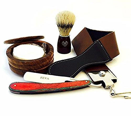 Men's Wood 5 Pieces Cut Throat Straight Edge Razor Strop Bowl Brush & Soap Shaving Gift Set/Kit