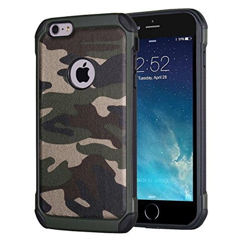 iPhone 6s Plus 5.5' Case, Crosstree Premium Heavy Duty Dual Layer Military Army Camo Design Defender Camouflage Painting Pattern Shockproof Super Protective Case for iPhone 6 Plus (Steel Green)