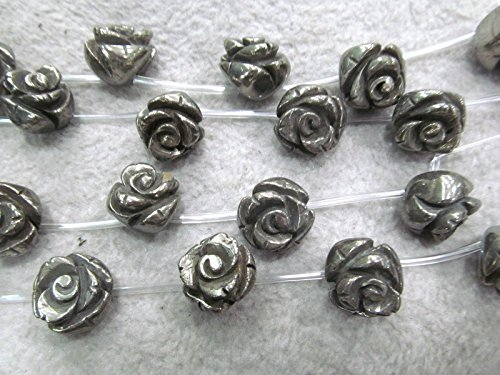 Fools Gold Iron - 8mm Pyrite Rose Beads -Fluorial Carved Fools Gold Top Drilled Beads, Iron Pyrite stone 16 inch strand