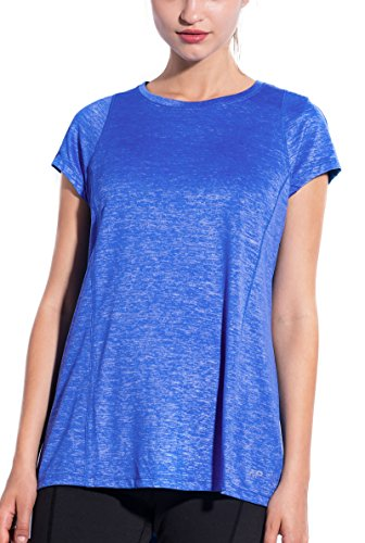 SPECIALMAGIC Women's Athletic Short Sleeve Round Neck Yoga Shirt Loose Fit Workout Top Royal Blue M