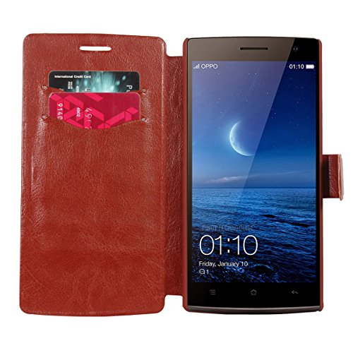 OPPO-Find-7a-X9006-Flip-Cover-swan-Leather-Flip-Cover-Wallet-Case-With-Magnetic-Closure-For-OPPO-Find-7a-X9006-Brown