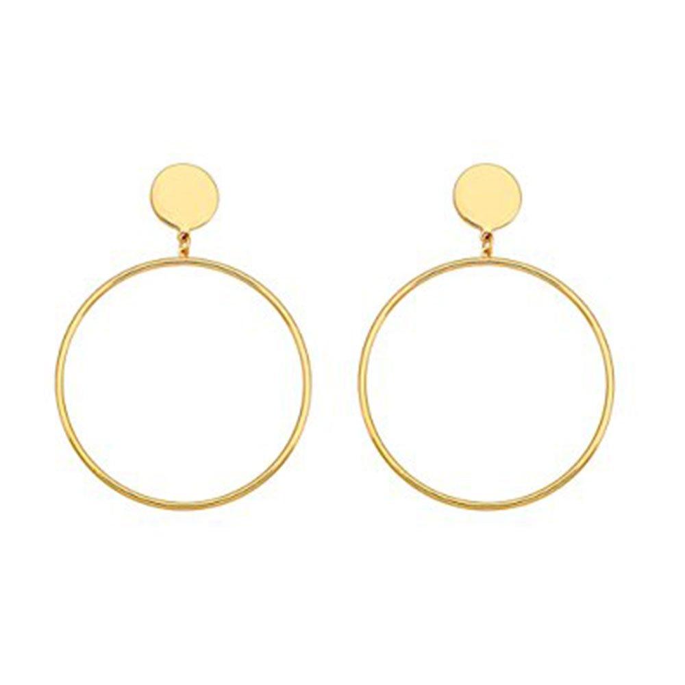 Cyntan Statement Large Hoop Dangle Drop Earrings For Women Girls Gold Tone C1141-Earrings