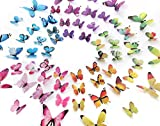 kids bedroom sticker wall murals eoorau 60PCS Butterfly Wall Decor for Wall-3D Butterflies Wall Stickers Removable Mural Decals Home Decoration Kids Room Bedroom Decor (5Colors)