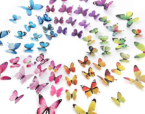 eoorau 60PCS Butterfly Wall Decor for Wall-3D Butterflies Wall Stickers Removable Mural Decals Home Decoration Kids Room Bedroom Decor (5Colors) -
