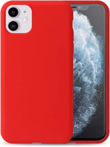 """Liquid Silicone Phone Case for Apple iPhone 11 6.1"""" /Full Body Protection/Shockproof/Gel Rubber/Cover Case Drop Protection Red"""