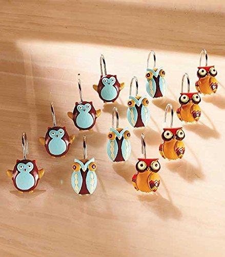 Set of 12 Owl Shower Curtain Hooks (Bathroom Owl Accessories)