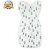 Ztacking Swaddle Baby Blanket Adjustable 100% Cotton Softest Breathable Multi-function Muslin Receiving Blanket for Kids Toddler Newborn 1-4 Months- Unisex with Baby Bib