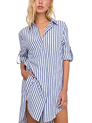 Simplee Apparel Women's Striped Blouse Dress Cotton Loose Shirt Half Sleeve
