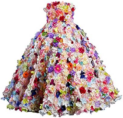 Aries Tuttle 3D Floral Little Girls' Wedding Flower Girl Dress Kids' Birth Party Pageant Ball Prom Christening Gown