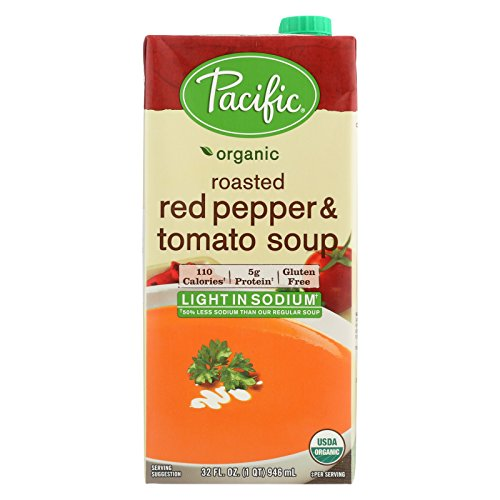 Pacific Natural Foods Organic Roasted - Red Pepper and Tomato Soup Light In Sodium - Case of 12 - 32 Fl oz. by Pacific Natural Foods