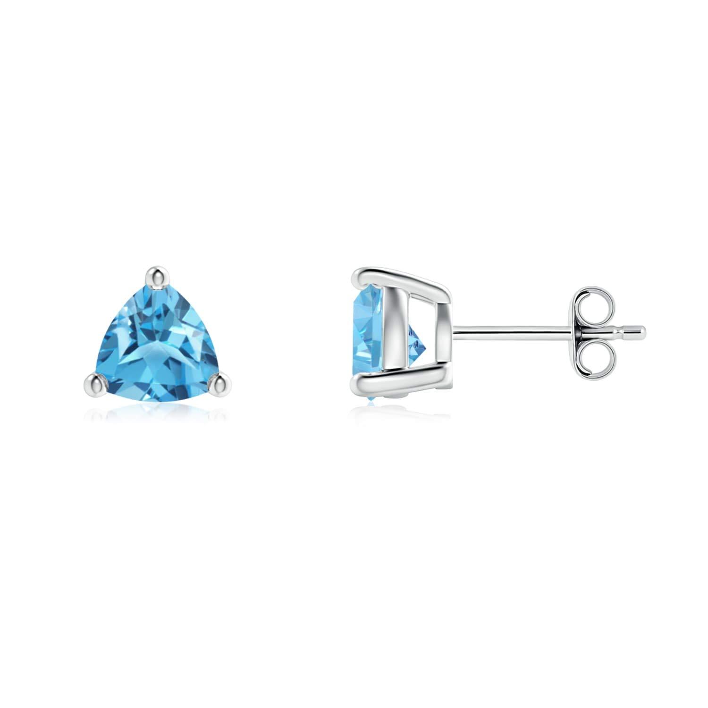 Basket-Set Trillion Swiss Blue Topaz Stud Earrings in Sterling Silver ANGARA FE1004SBT/_SO/_55