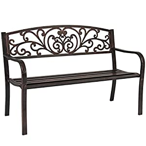 "Best Choice Products 50"" Patio Garden Bench Park Yard Outdoor Furniture Steel Frame Porch Chair Bronze"