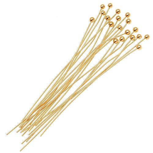 Beadaholique B24/200G 20-Piece Ball Head Pins, 24-Gauge, 2-Inch, 22K Gold
