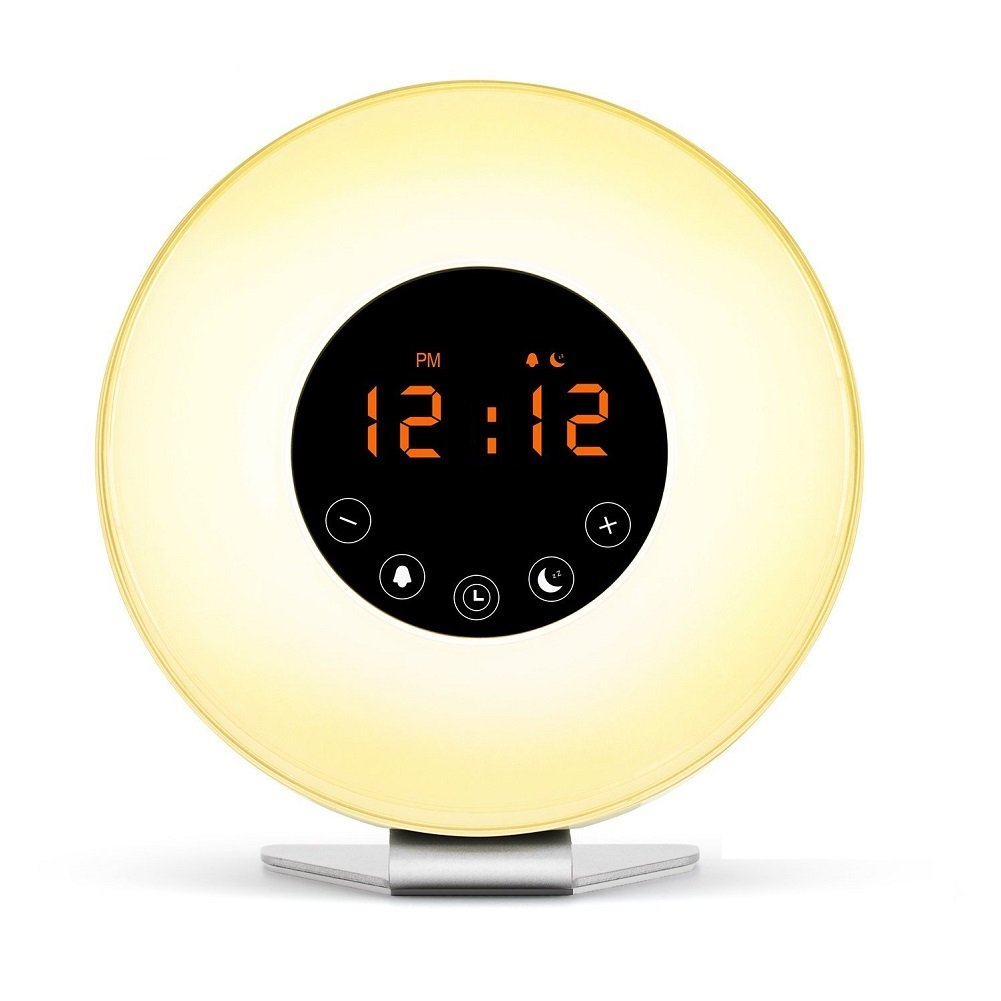 Friencity Wake Up Light Alarm Clock with Sunrise Sunset Simulation, FM Radio, 7 Multi-Color LED Mood Light Changes, 6 Nature Sounds and Touch Control Snooze Function Bedside Lamp YYCH