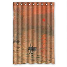 SUNSMILES Claude Monet Art Painting Polyester Bath Curtains Width X Height / 48 X 72 Inches / W * H 120 By 180 Cm For Teens Boys Girls Boys. Modern Design. Fabric Material